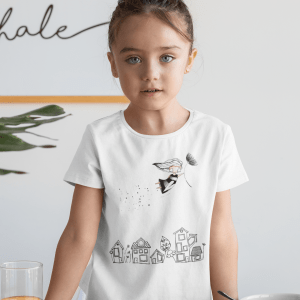 Mockup of a girl wearing a t shirt at breakfast 31681 5