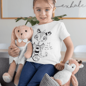 T shirt mockup of a girl holding two stuffed animals 31683 7
