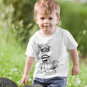 T shirt mockup of a little boy playing in nature 2916 el1 5