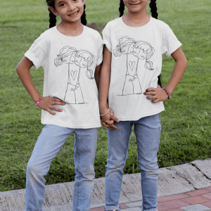T shirt mockup of two identical twin girls at the park 30705 8