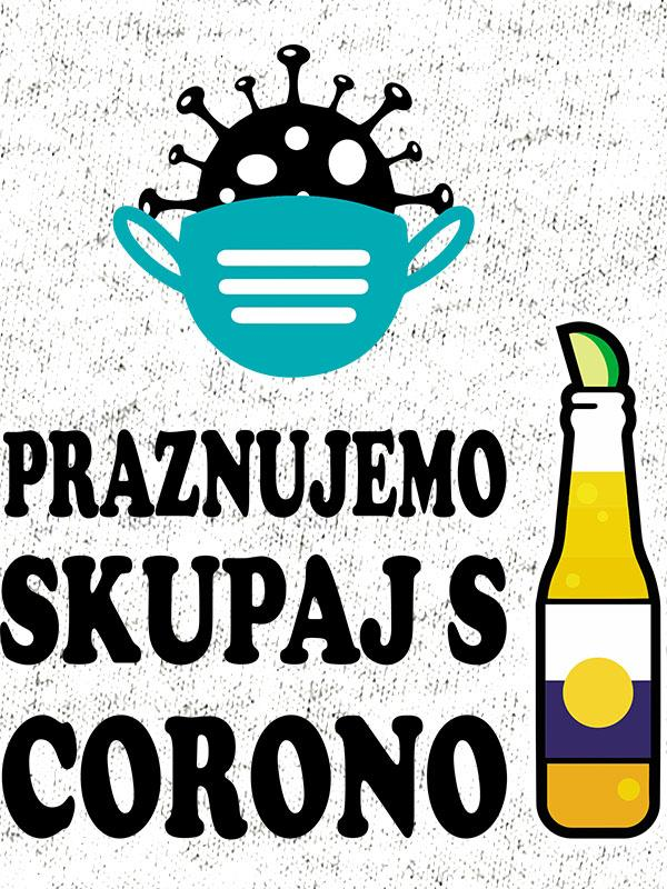 printed t-shirt celebrate together with corona birthday party gift beer beer corona virus mask funny topical printing shop wardrobe ljubljana print on t-shirts unique delivery online purchase