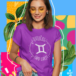 Printed t-shirt birthday horoscope twins gift fun funny printing shop garderoba ljubljana print on t-shirts print on request dtg printing quality durable online purchase delivery personal collection