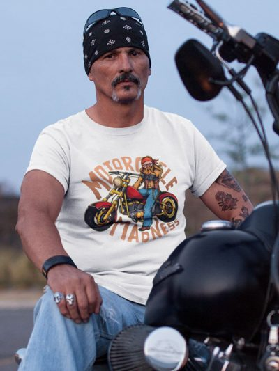 printed t-shirt motorcycle madness t-shirt for motorcyclists dtg printing fun funny bikers printing wardrobe ljubljana dtg printing personal collection delivery by mail online purchase comfortable to wear durable print