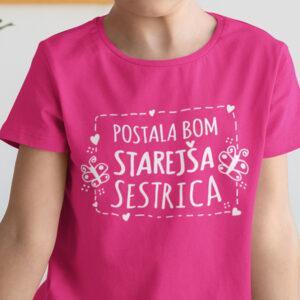 Potiskana majica postala bom starejša sestrica rojstni dan dojenček družina sestra hčerka tiskarna garderoba tisk na majice unikati dtg tisk udobno obstojno spletno nakupovanje dostava osebni prevzem ljubljana