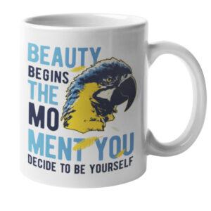 Beauty_begins_the_moment_you_decide_to_be_yourself_skodelica_bela_garderoba_unikatni_tisk_ljubljana