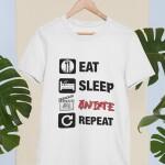 Potiskana majica eat sleep anime repeat moška majica risanke japonska igrice smešno zabavno tiskarna garderoba ljubljana slovenija dtg tisk na majice unikati po vaši želji kvalitetno obstojno tiskarna s tradicijo osebni prevzem dostava po pošti spletni nakup