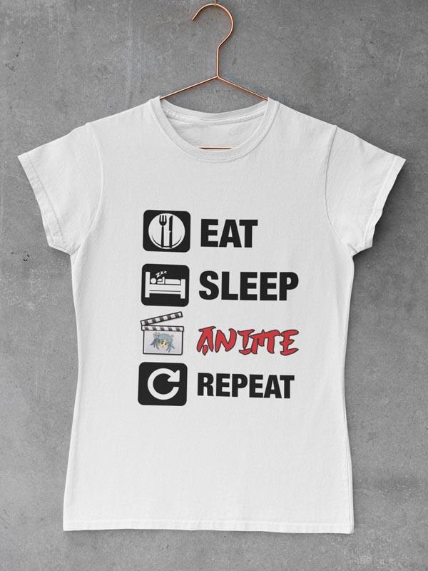 potiskana majica Eat sleep anime repeat ženska majica risanke japonska igrice smešno zabavno tiskarna garderoba ljubljana slovenija dtg tisk na majice unikati po vaši želji kvalitetno obstojno tiskarna s tradicijo osebni prevzem dostava po pošti spletni nakup