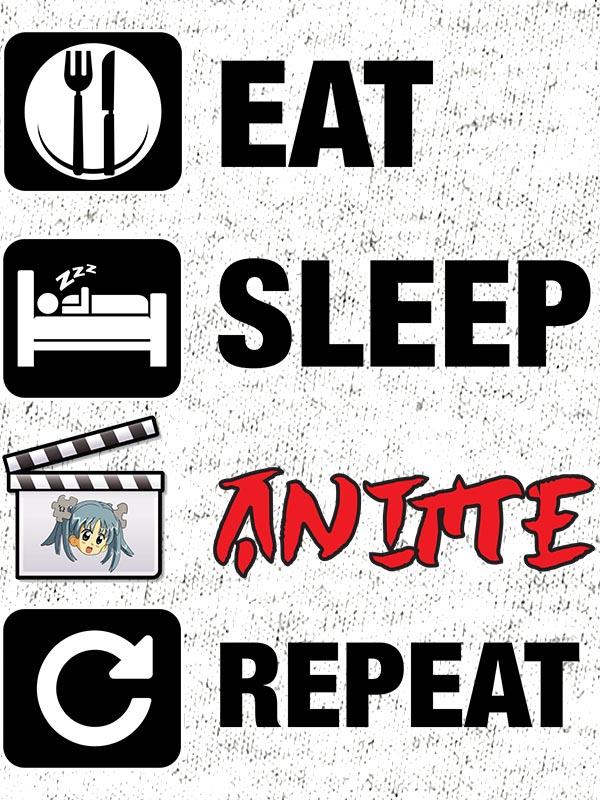 potiskana majica Eat sleep anime repeat risanke japonska igrice smešno zabavno tiskarna garderoba ljubljana slovenija dtg tisk na majice unikati po vaši želji kvalitetno obstojno tiskarna s tradicijo osebni prevzem dostava po pošti spletni nakup