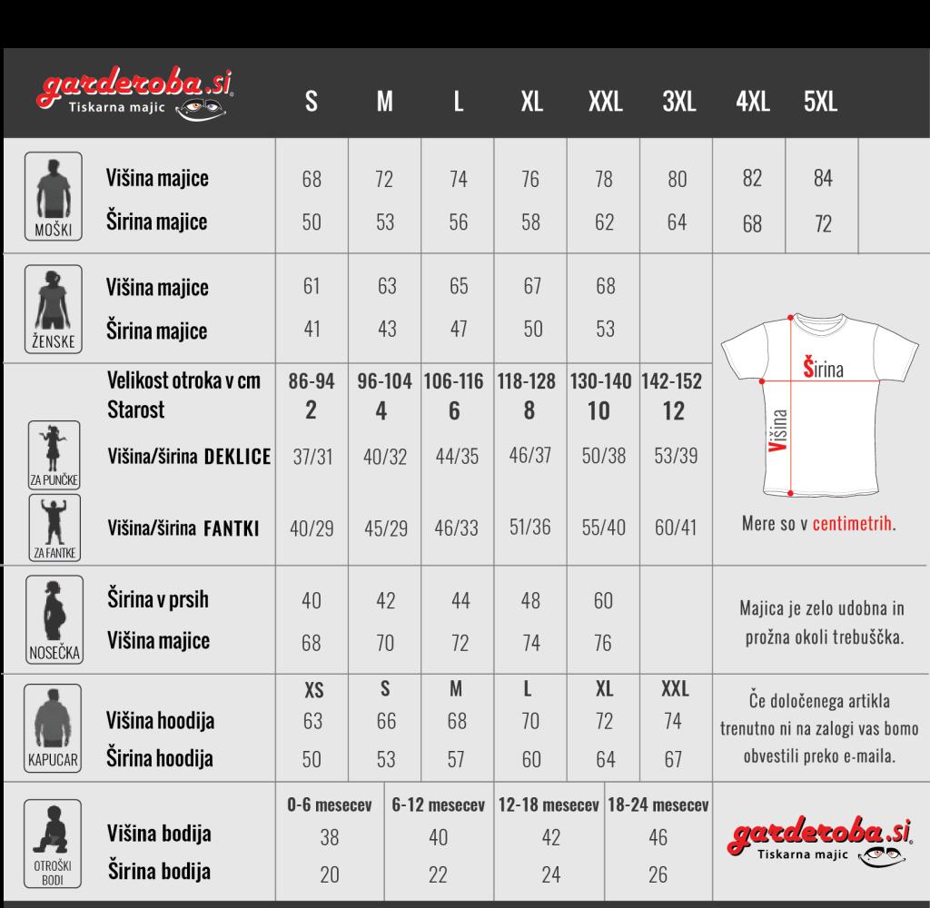Velikosti majic garderoba